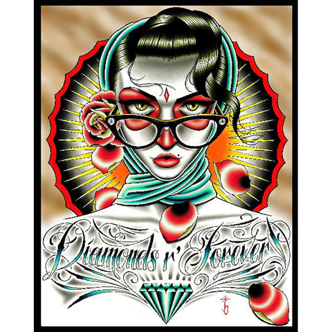 Diamonds R Forever Color by Tyler Bredeweg Canvas Giclee Neo Tradtioanal Tattoo
