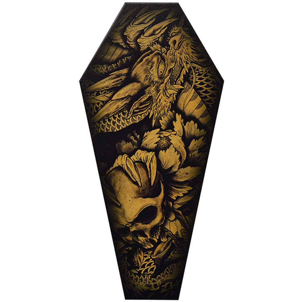Dragon and Skull Coffin Canvas Giclee By Clark North Tattoo Art