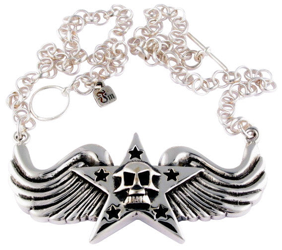 Femme Metale .925 Sterling Silver Badass Necklace Skull Star Wings