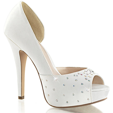 Fabulicious LOLITA-09 Platform d-Orsay Pump White Sexy Shoes Heels