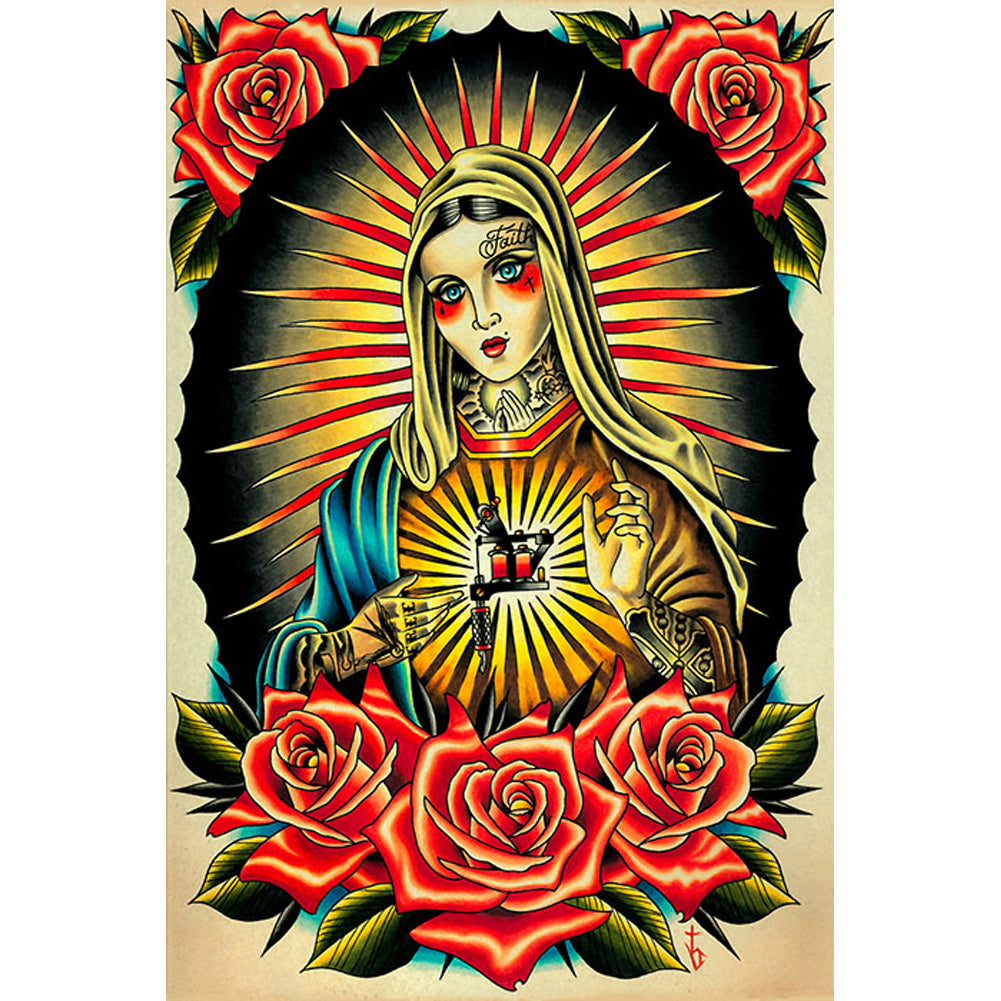 Faith Mary Fine Art Print by Tyler Bredeweg Tattooed Lady Guadalupe Tattoo Gun
