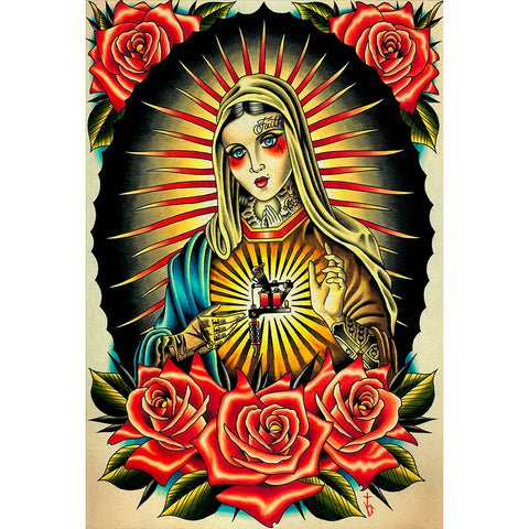 Faith Mary by Tyler Bredeweg Canvas Giclee Traditional Tattoo Lady of Guadalupe