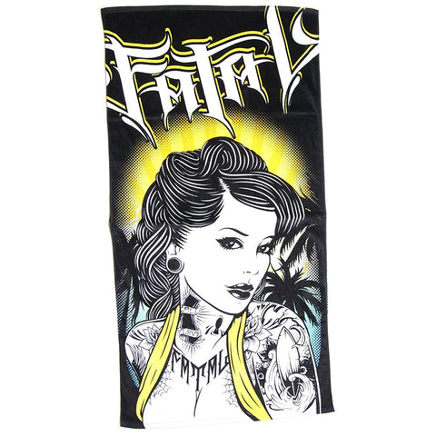 Fatal Beach Girl Beach Towel Tattooed Rockabilly Girl