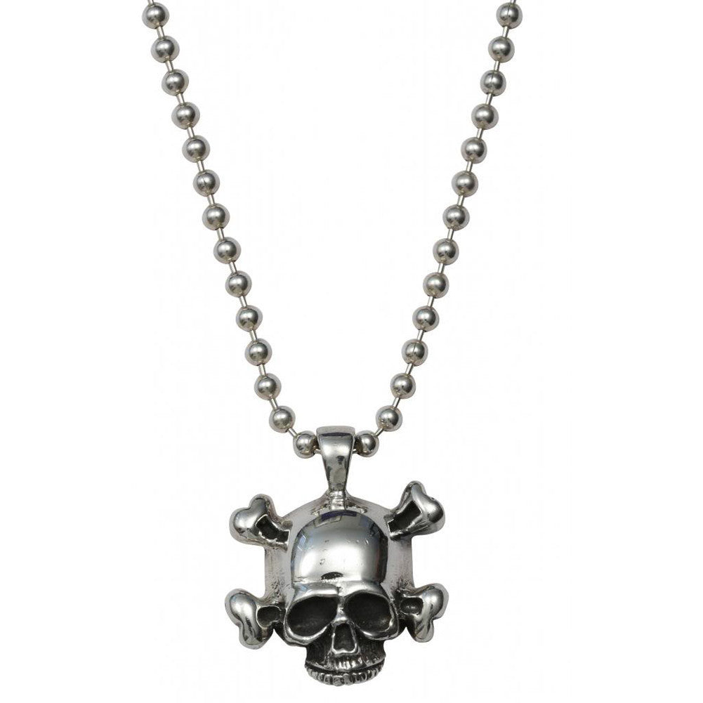 Femme Metale .925 Sterling Silver Crossbones Charm Necklace Skull