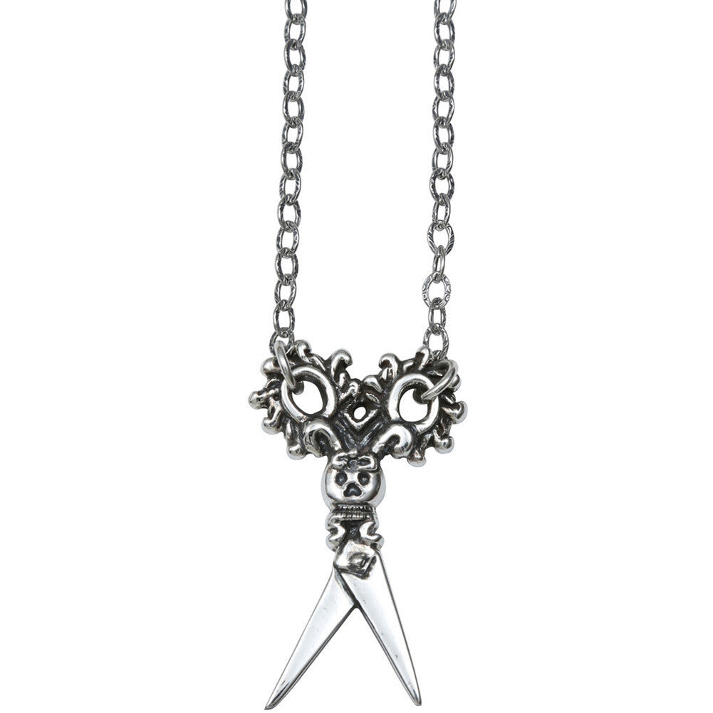Femme Metale .925 Sterling Silver Cut A Bitch Necklace Gothic Scissors Skull