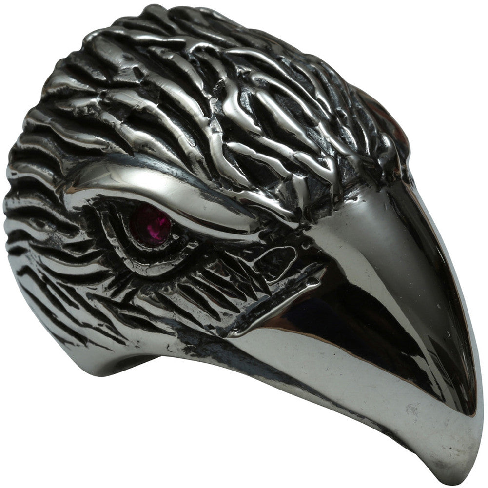 Femme Metale .925 Sterling Silver Eagle Head Ring Bird