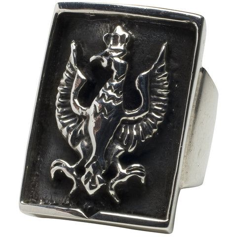 Femme Metale .925 Sterling Silver Falcon Crest Ring Gothic