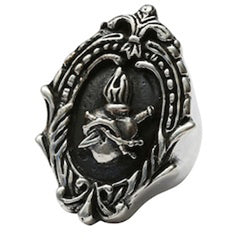 Femme Metale .925 Sterling Silver Framed Sacred Ring Heart