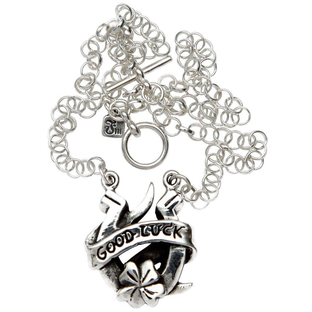 Femme Metale .925 Sterling Silver Good Luck Necklace Rockabilly