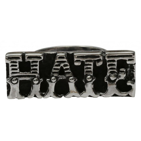 Femme Metale .925 Sterling Silver Hate Bar Ring Punk Goth Tattoo