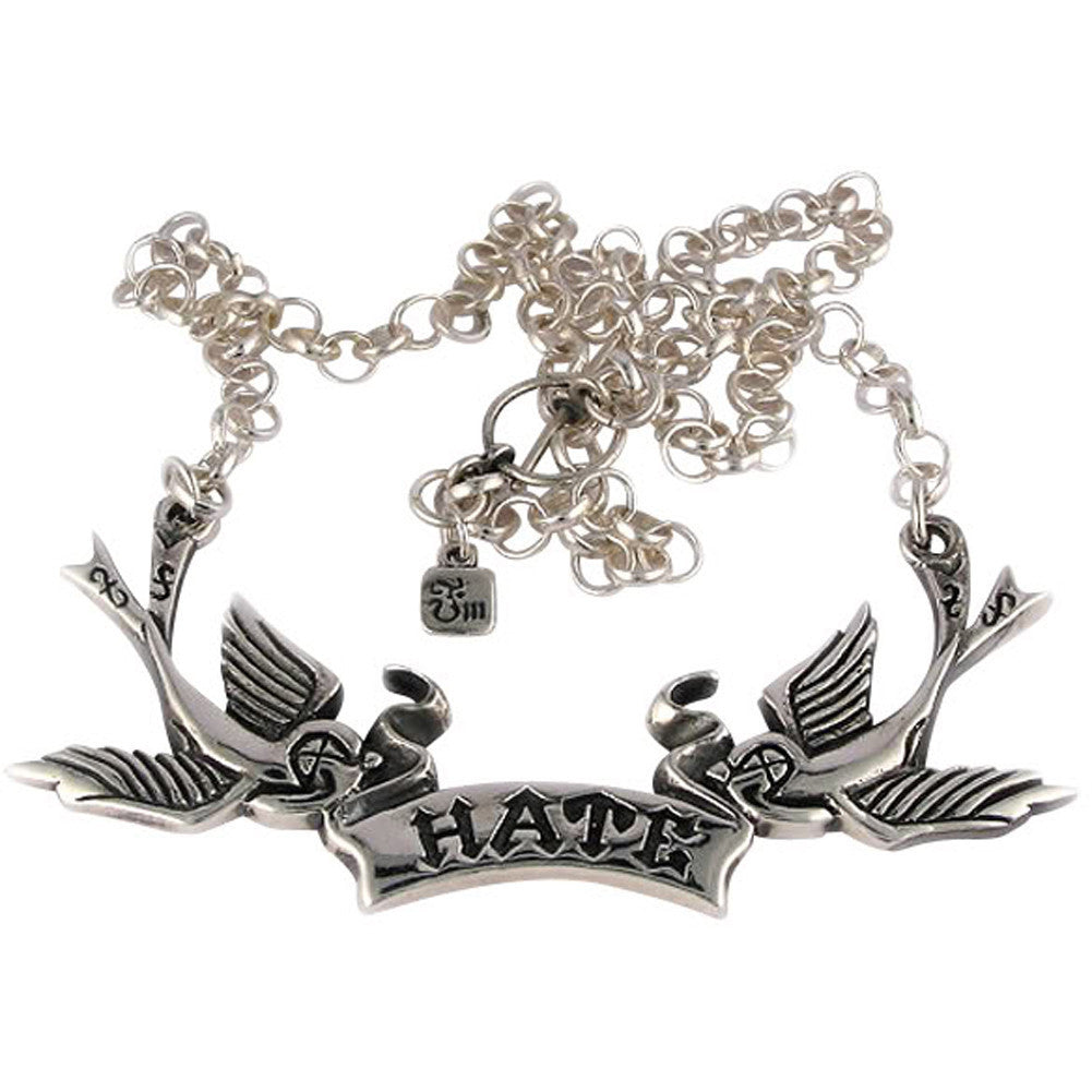 Femme Metale .925 Sterling Silver Hate Birds Necklace Swallows Tattoo