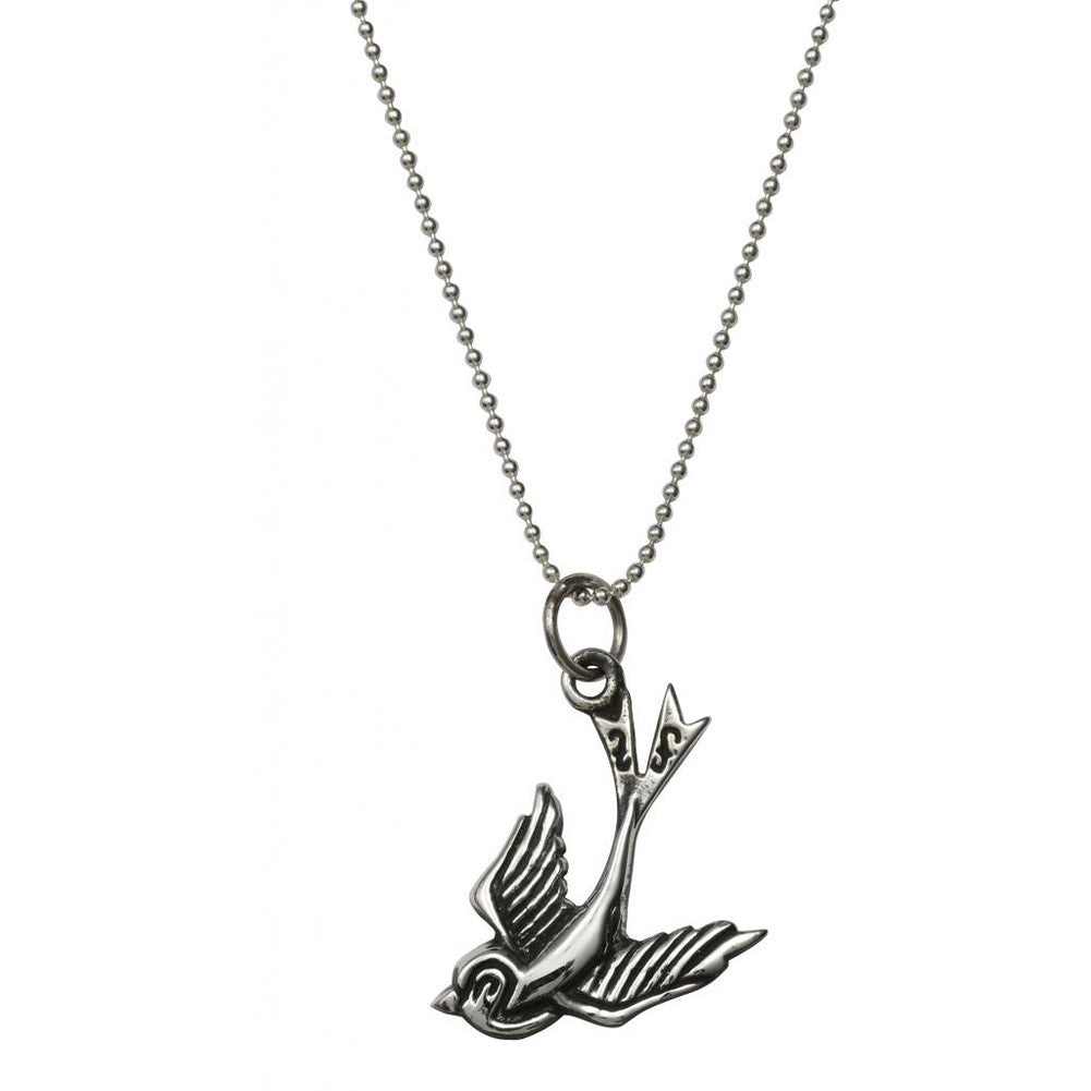 Femme Metale .925 Sterling Silver Love Bird Charm Necklace Swallow Tattoo