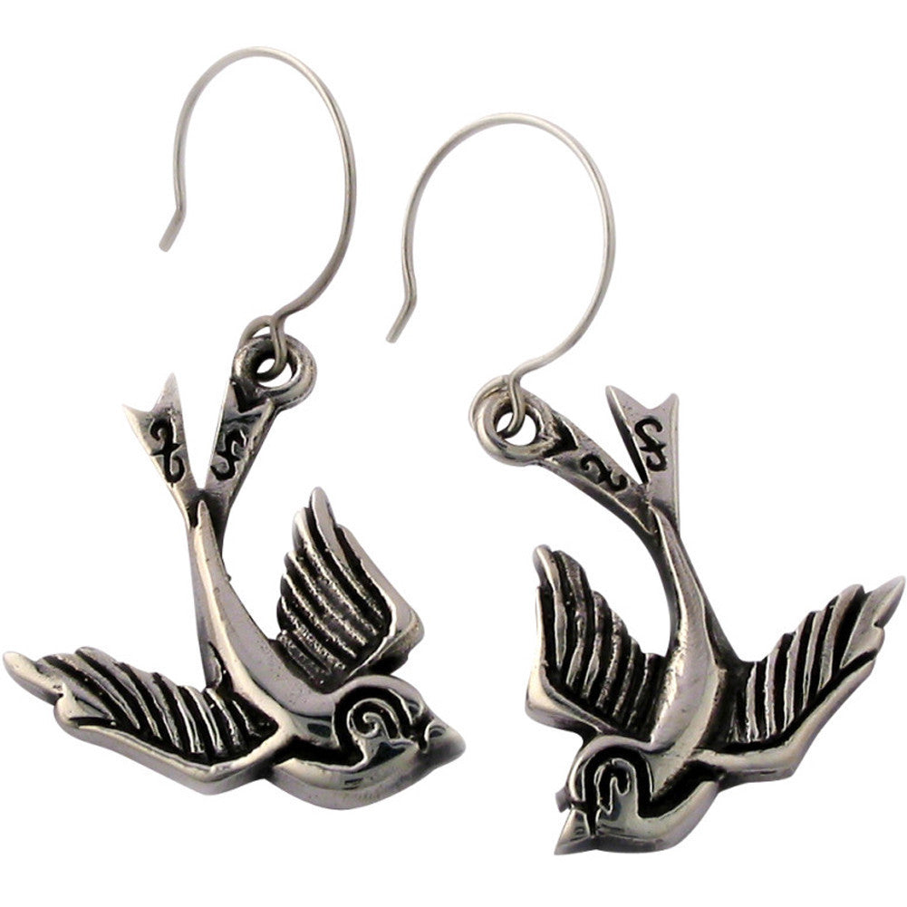 Femme Metale .925 Sterling Silver Love Birds Earrings Swallows Tattoo