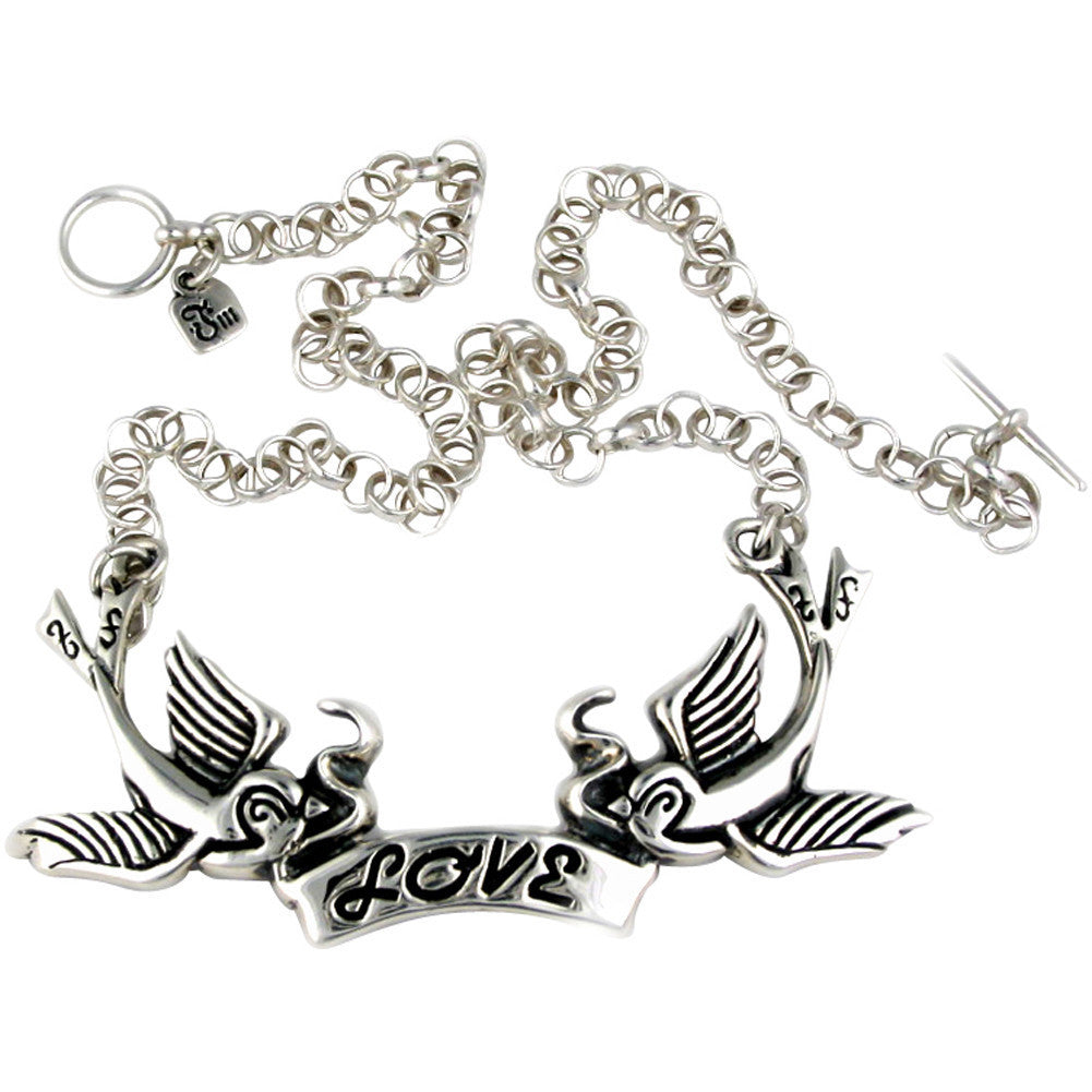 Femme Metale .925 Sterling Silver Love Birds Necklace Swallows Rockabilly
