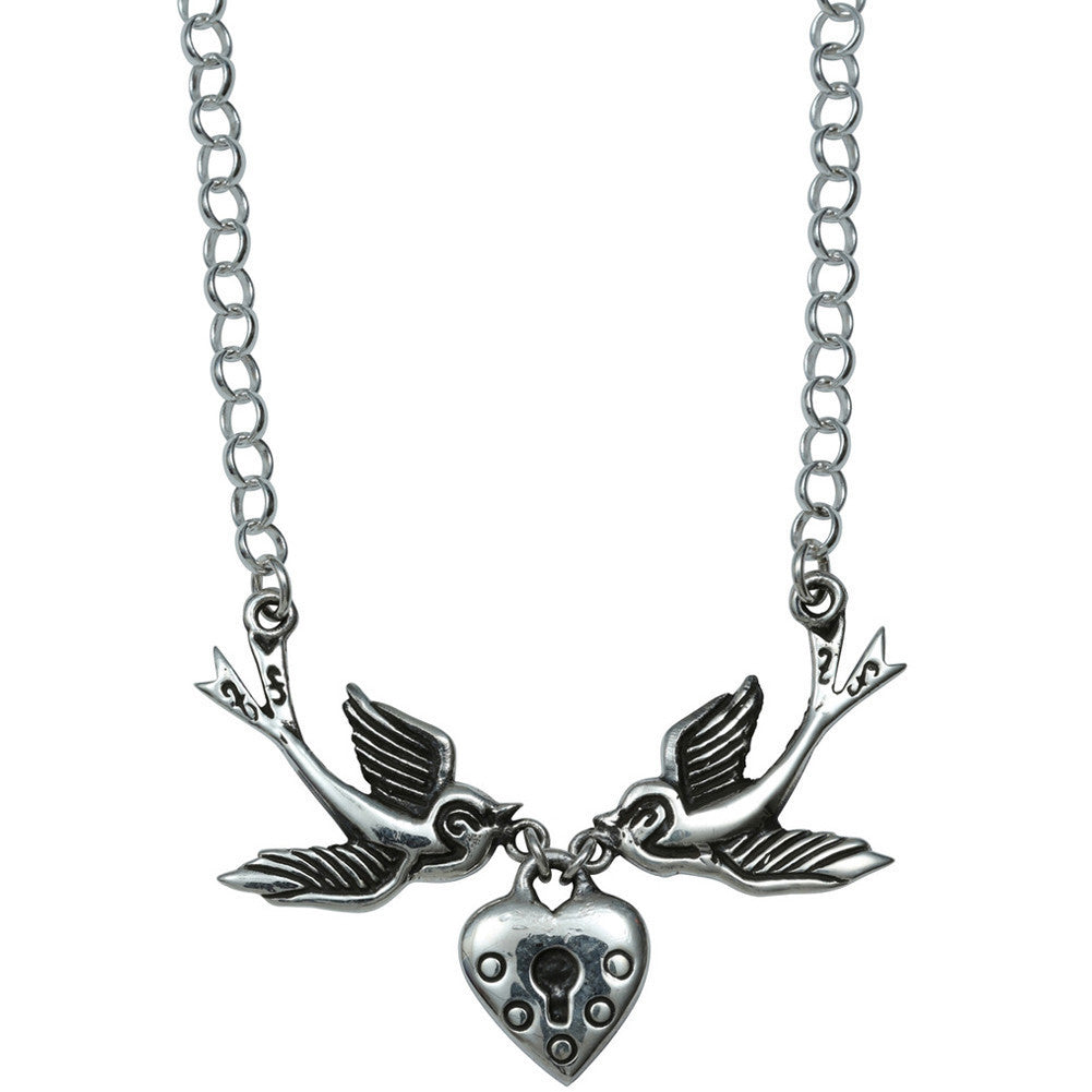 Femme Metale .925 Sterling Silver Love Locket Necklace