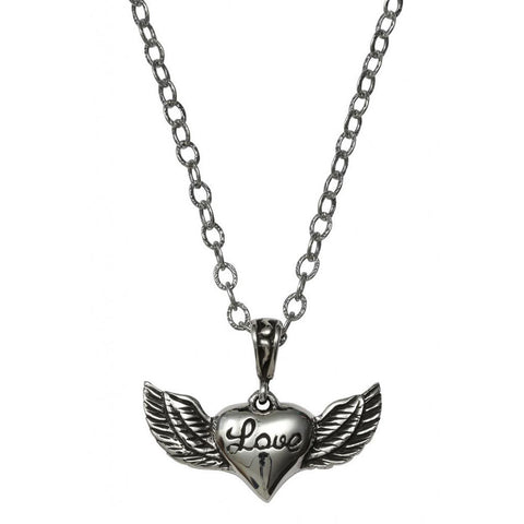 Femme Metale .925 Sterling Silver Lovely Wings Charm Necklace Heart Love