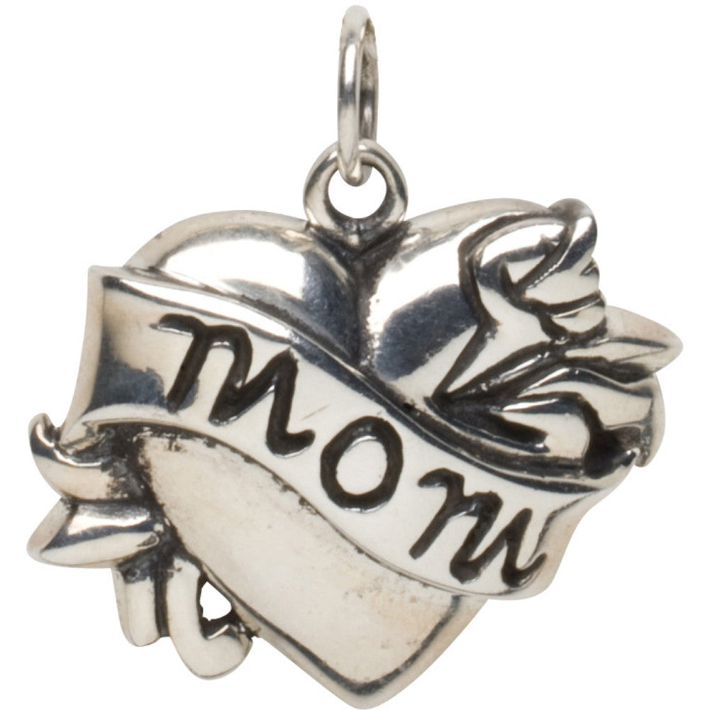 Femme Metale .925 Sterling Silver Mom Charm Necklace Tattoo Heart Rockabilly