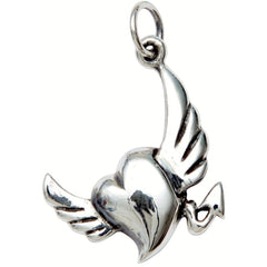 Femme Metale .925 Sterling Silver Naughty Heart Charm Necklace Devil Wings