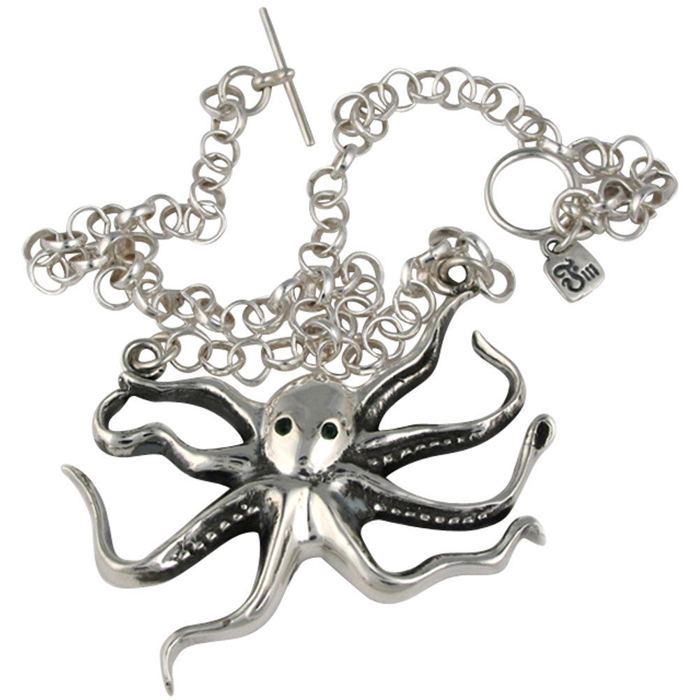 Femme Metale .925 Sterling Silver Octopus Necklace Nautical