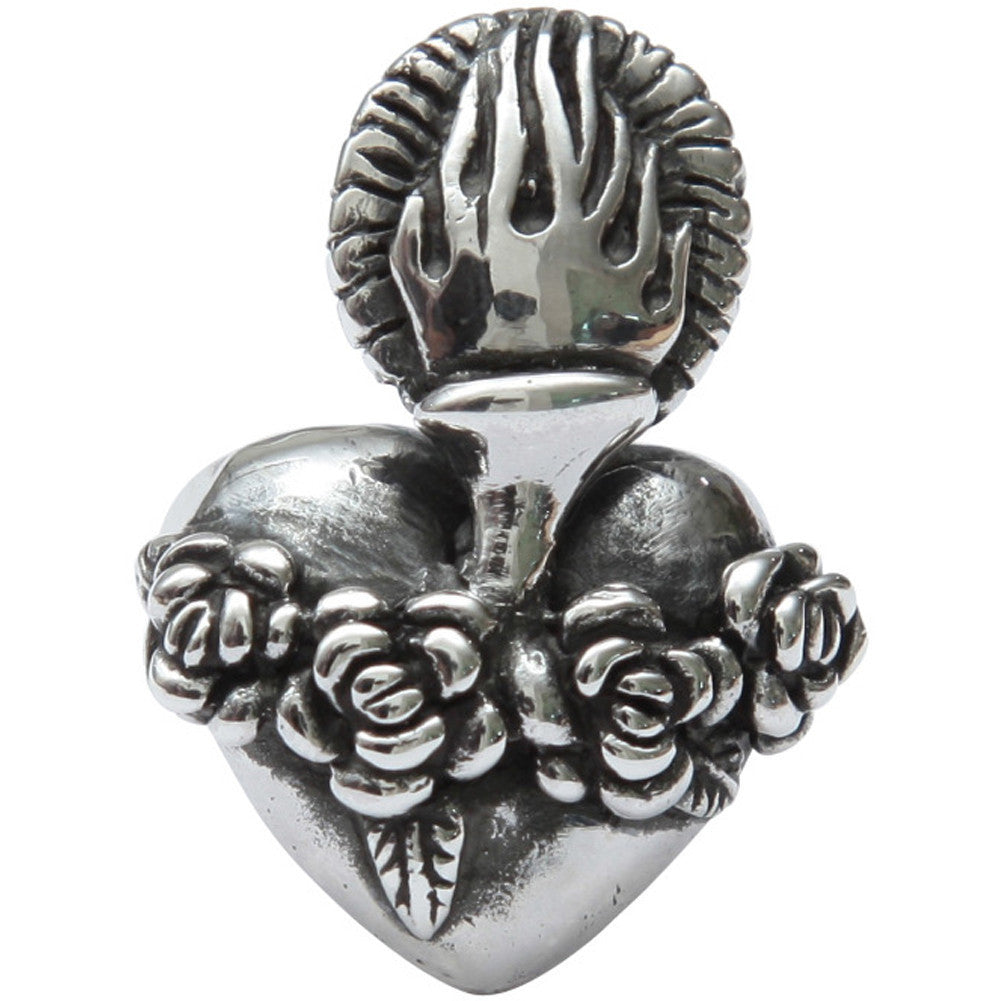 Femme Metale .925 Sterling Silver Old School Sacred Ring Heart Roses Tattoo