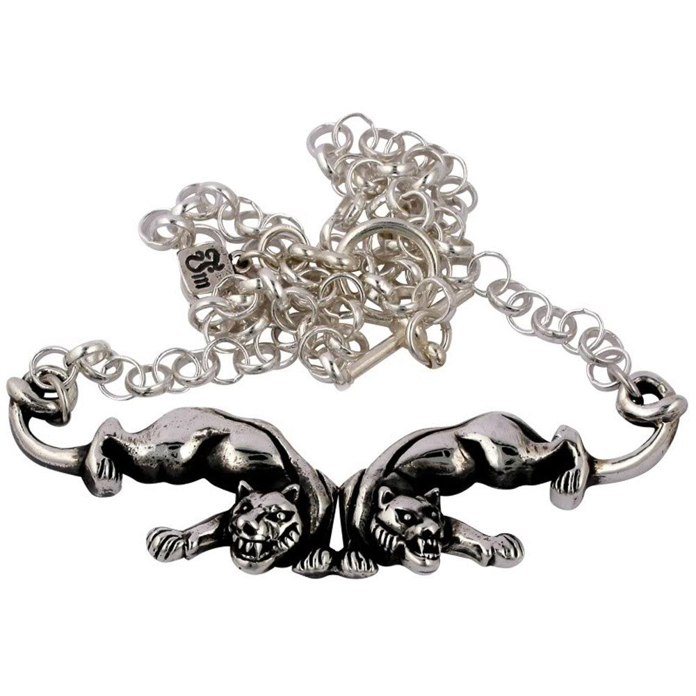 Femme Metale .925 Sterling Silver Panther Pals Necklace Rockabilly Retro