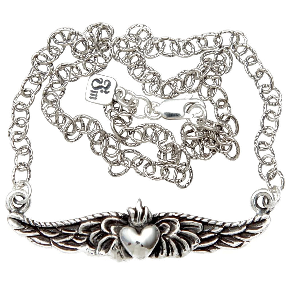 Femme Metale .925 Sterling Silver Petite Winged Sacred Necklace Rockabilly