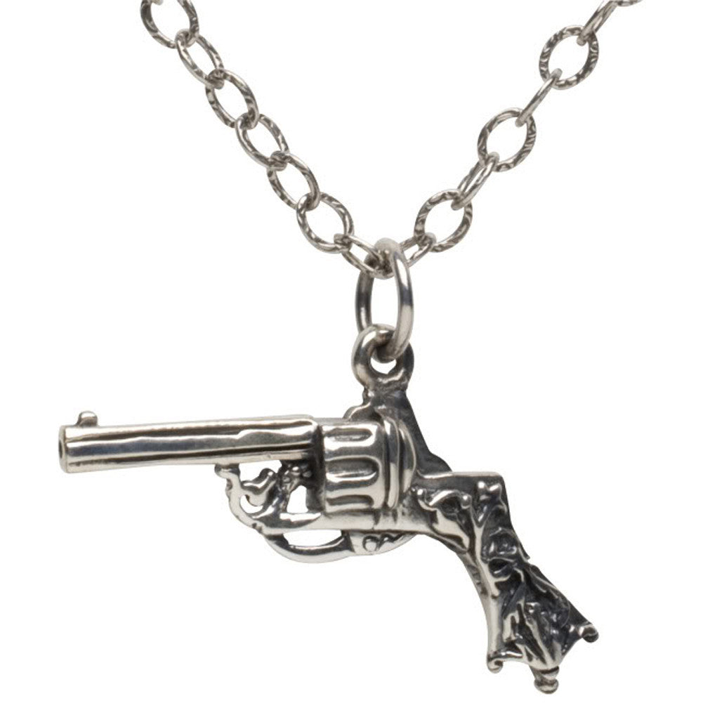 Femme Metale .925 Sterling Silver Pistola Charm Necklace Gun