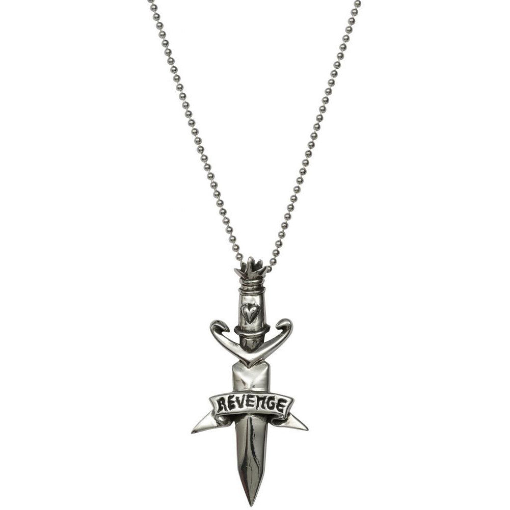 Femme Metale .925 Sterling Silver Revenge Charm Necklace Tattoo Dagger