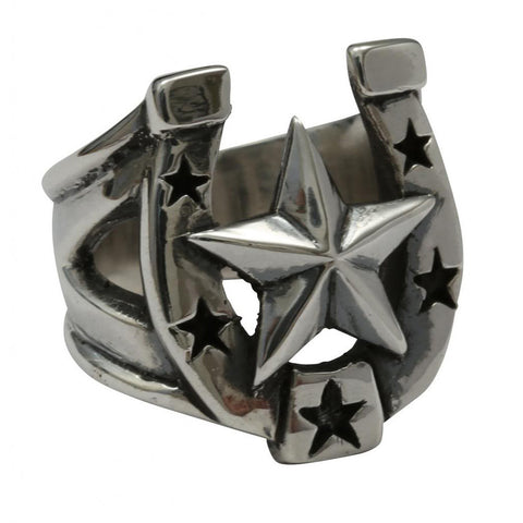 Femme Metale .925 Sterling Silver Rockabilly Deluxe Ring Nautical Star Horseshoe