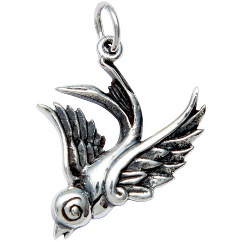 Femme Metale .925 Sterling Silver Single Swallow Charm Necklace Tattoo