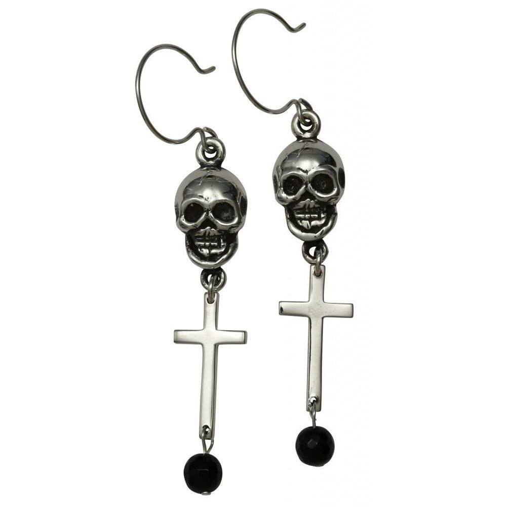 Femme Metale .925 Sterling Silver Skull With Cross Onyx Earrings Punk Goth