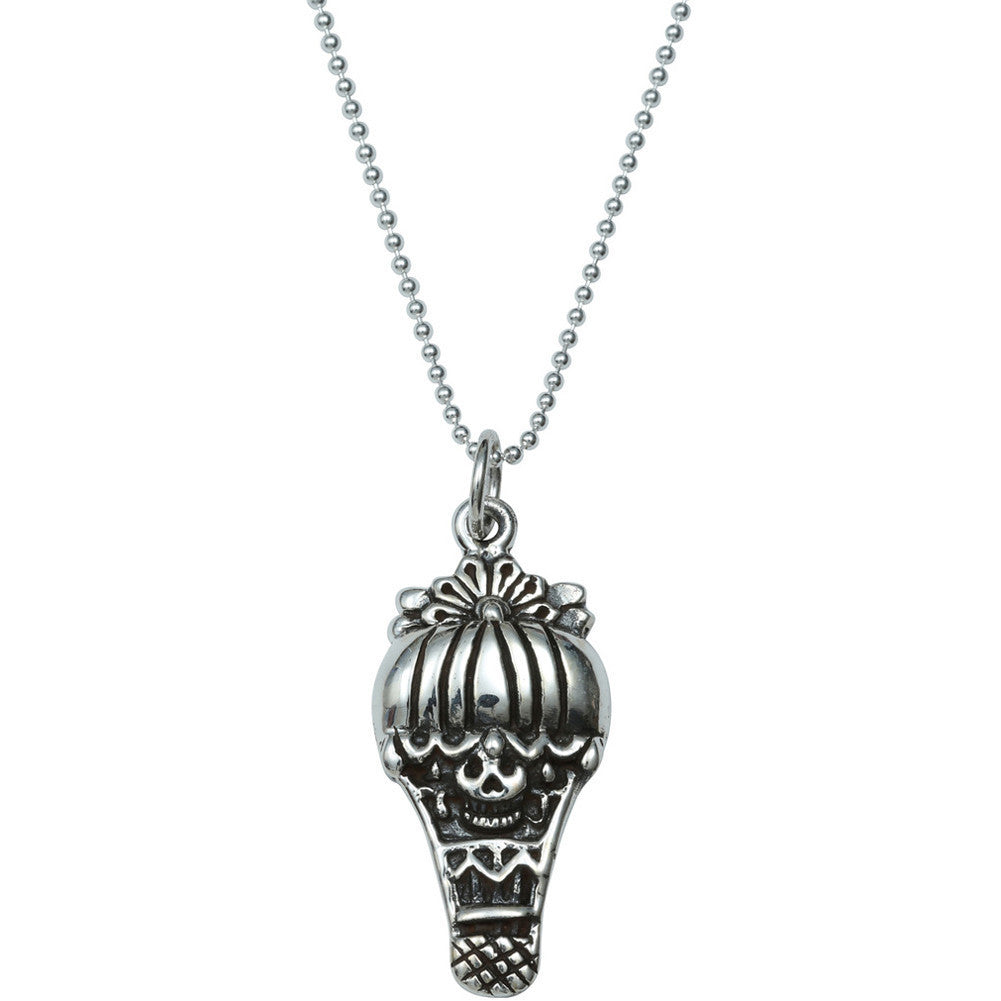 Femme Metale .925 Sterling Silver Skully Balloon Pendant Necklace