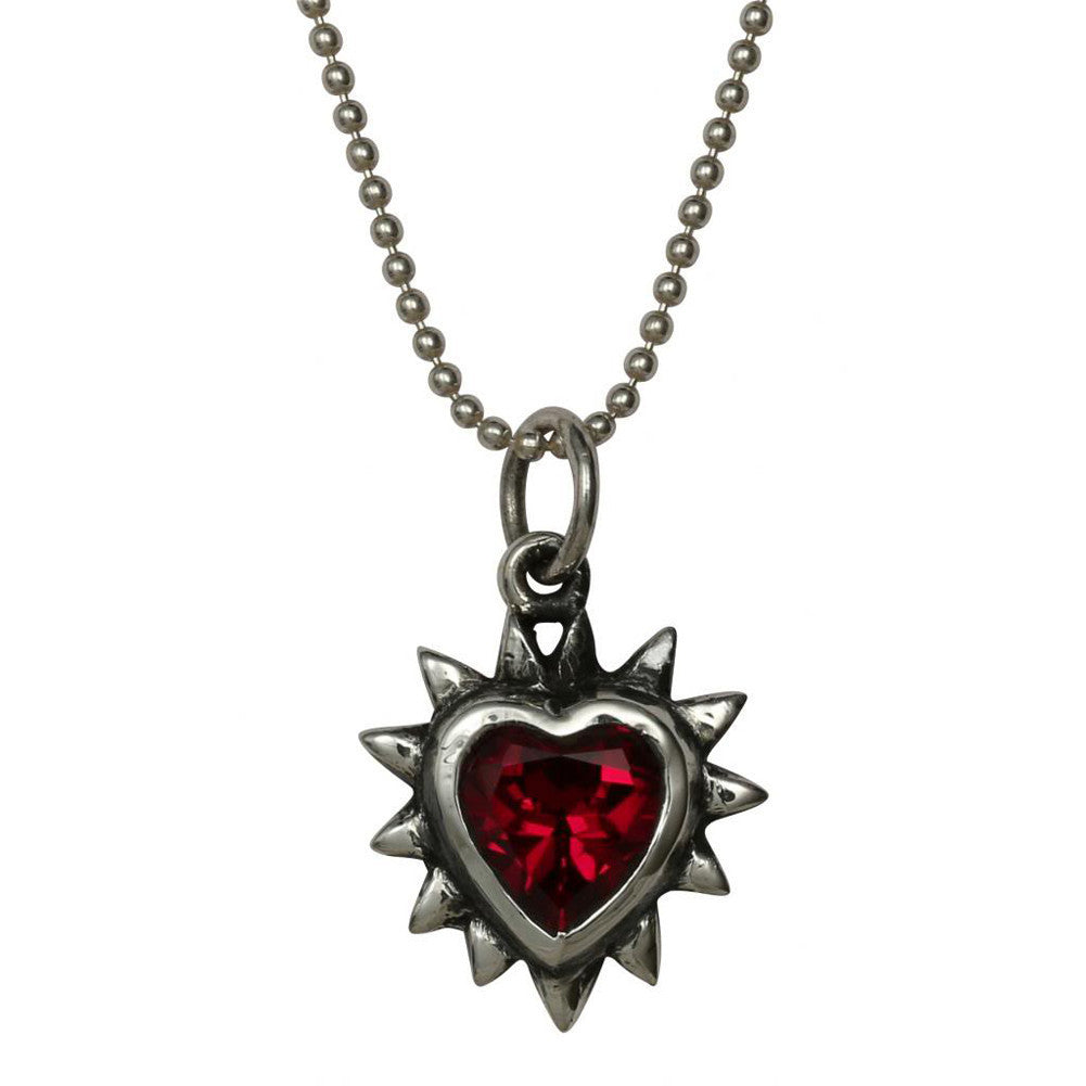 Femme Metale .925 Sterling Silver Spiked Gem Heart Charm Necklace Red Punk