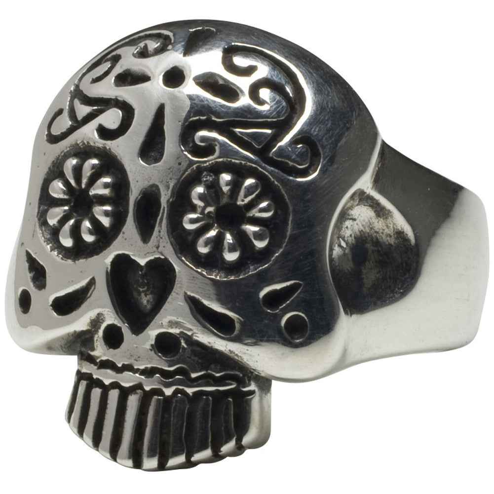 Femme Metale .925 Sterling Silver Sugar Skull Ring Day of the Dead