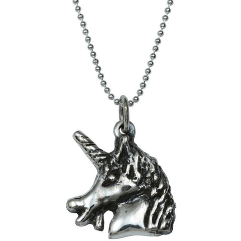 Femme Metale .925 Sterling Silver Unicorny Charm Necklace Unicorn