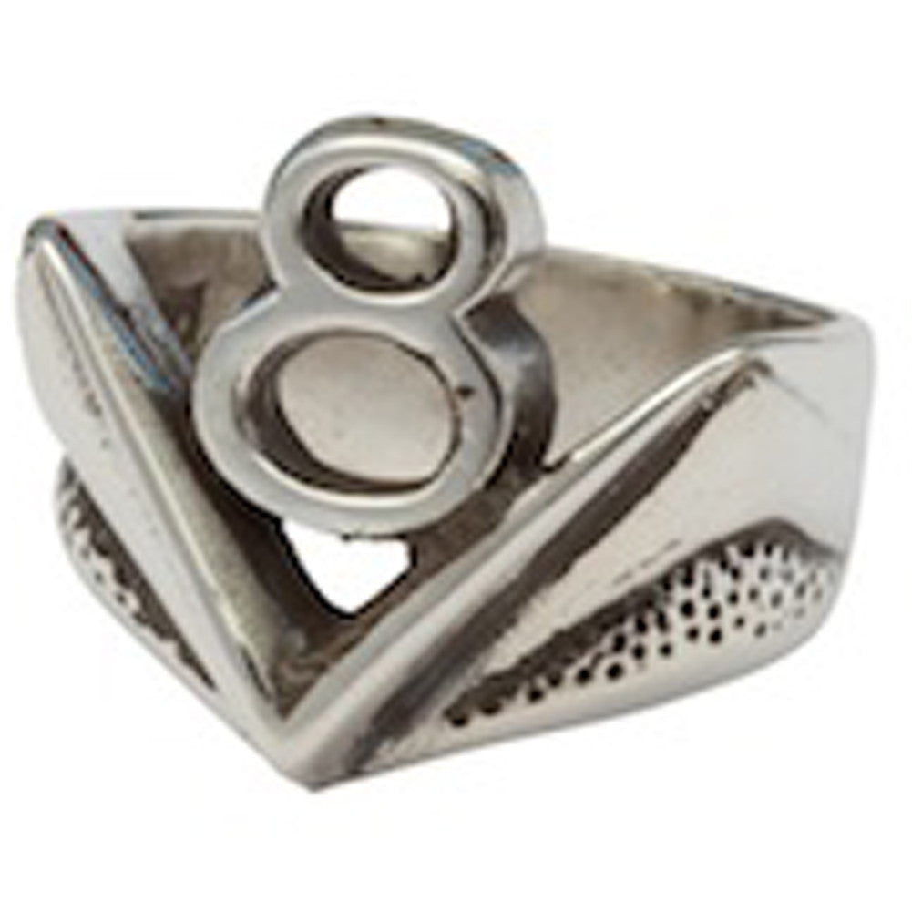 Femme Metale .925 Sterling Silver V-8 Ring Hot Rod Gearhead V8