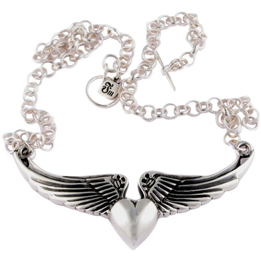 Femme Metale .925 Sterling Silver Wings O Luv Necklace Heart