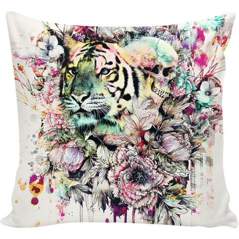 Floral Tiger and Skull Pillow
