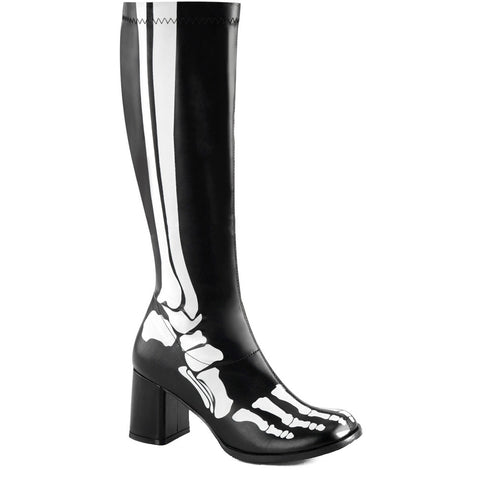 Women's Funtasma GOGO300XRAY Knee High Gogo Boot Black Skeleton Bones Punk