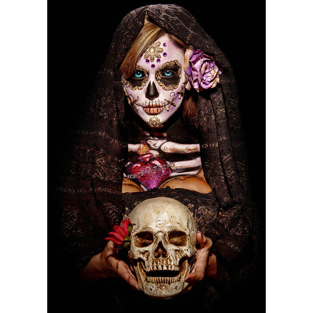 Get Down Art Fortune Teller Poster Day of the Dead Girl Skeleton Skull