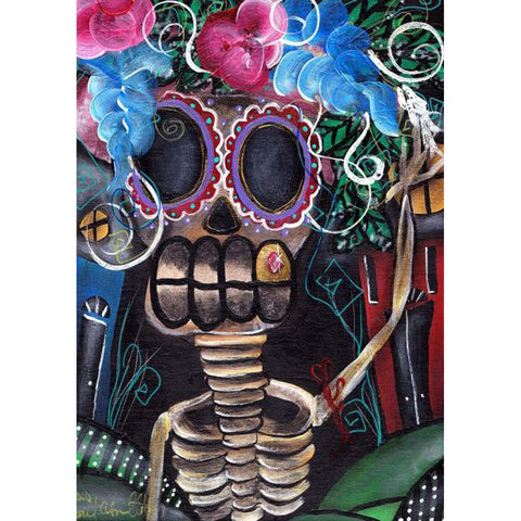 Going Out Fine Art Print by Abril Andrade Sugar Skull Day of the Dead Skeleton