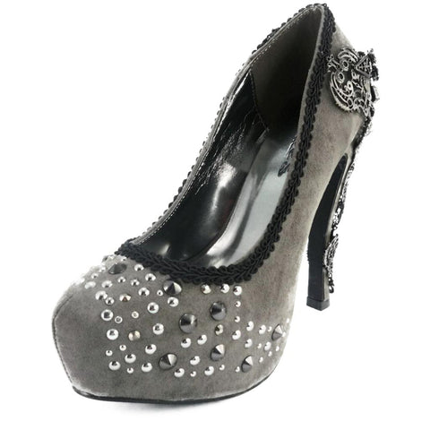 Hades Amina High Heel Grey  Punk Steampunk Steam Alternative Victorian