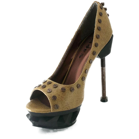 Hades Iron Punk Peep Toe High Heel Mustard Punk Steampunk Alternative Victorian