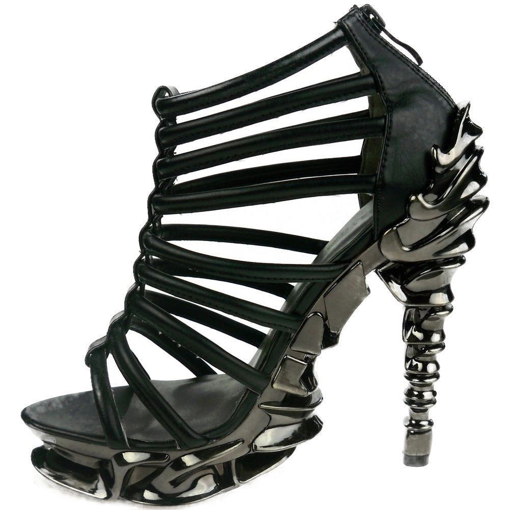 Hades Nix High Heel Black Punk Rock Metal Spine Goth