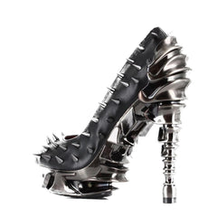Hades Talon Peep Toe High Heel Black Punk Rock Metal Spine Goth Spikes