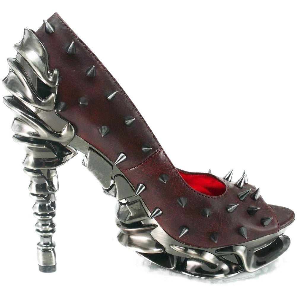 Hades Talon Peep Toe High Heel Burgundy Punk Rock Metal Spine Goth Spikes