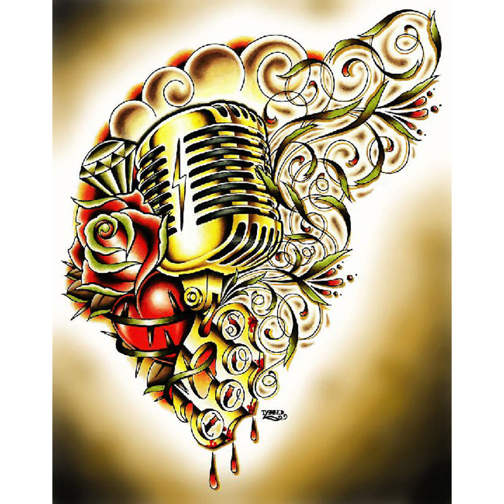 Hart & Soul by Tyler Bredeweg Canvas Giclee Microphone Rose Diamond Tattoo Art