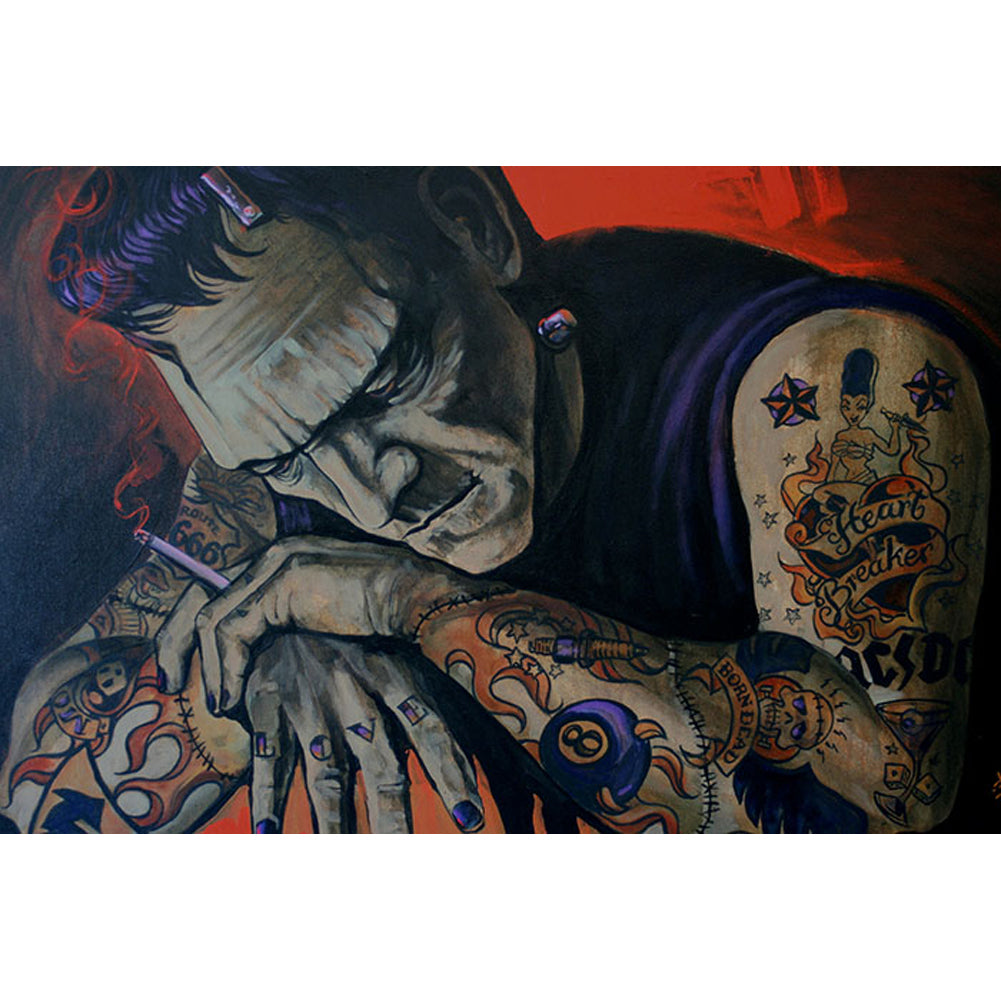 Heart Breaker Fine Art Print by Mike Bell Tattooed Frankenstein Monster Smoking