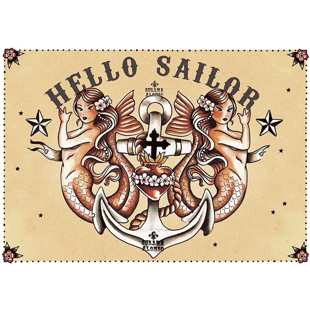 Hello Sailor Canvas Giclee by Susana Alonso Traditional Tattoo Mermaids Anchor