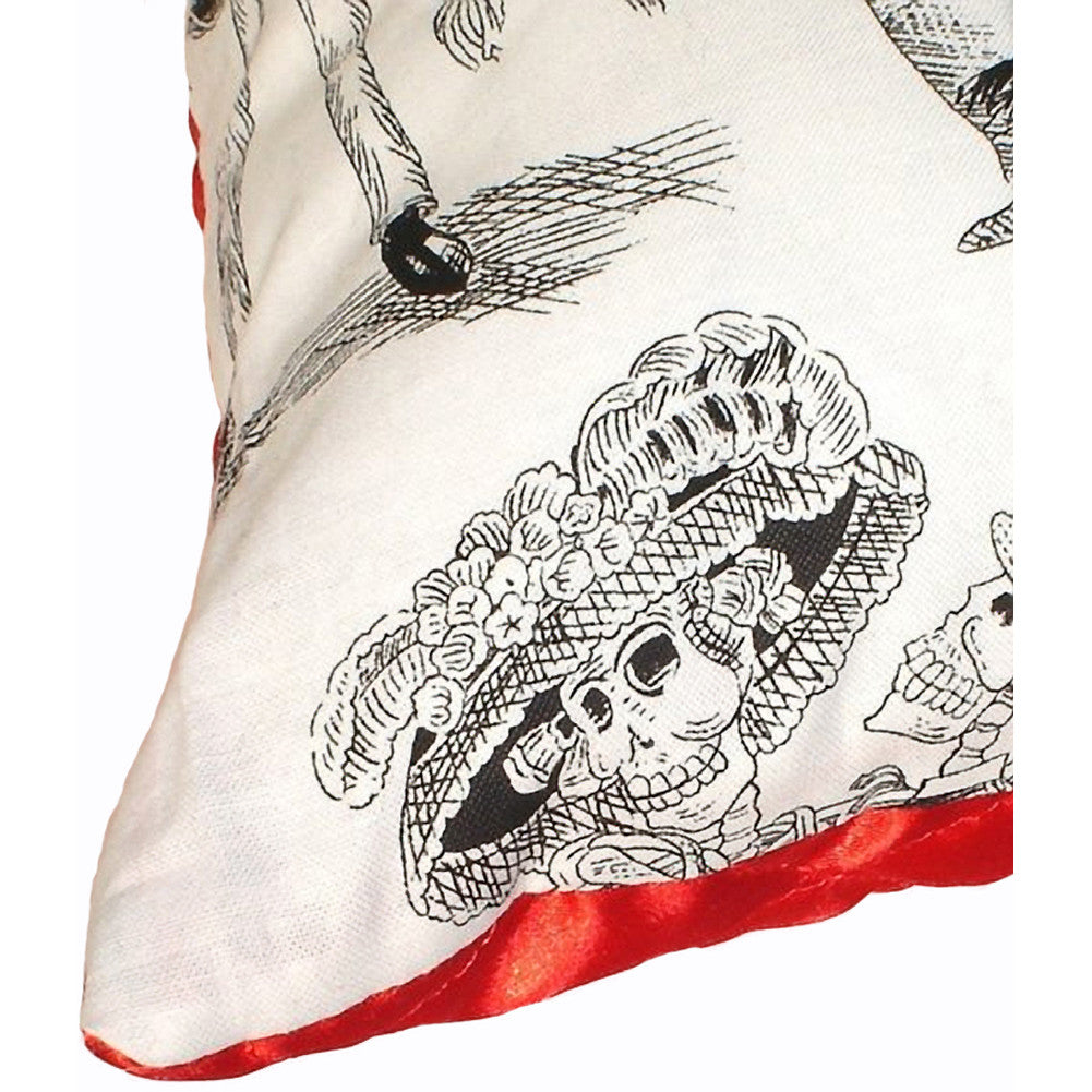 Hemet Day of the Dead Throw Pillow I Mexican Music Skeletons Skulls Party